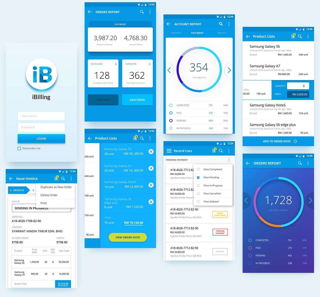 ibilling mobile app ui design